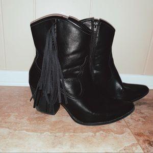 Black faux leather boots